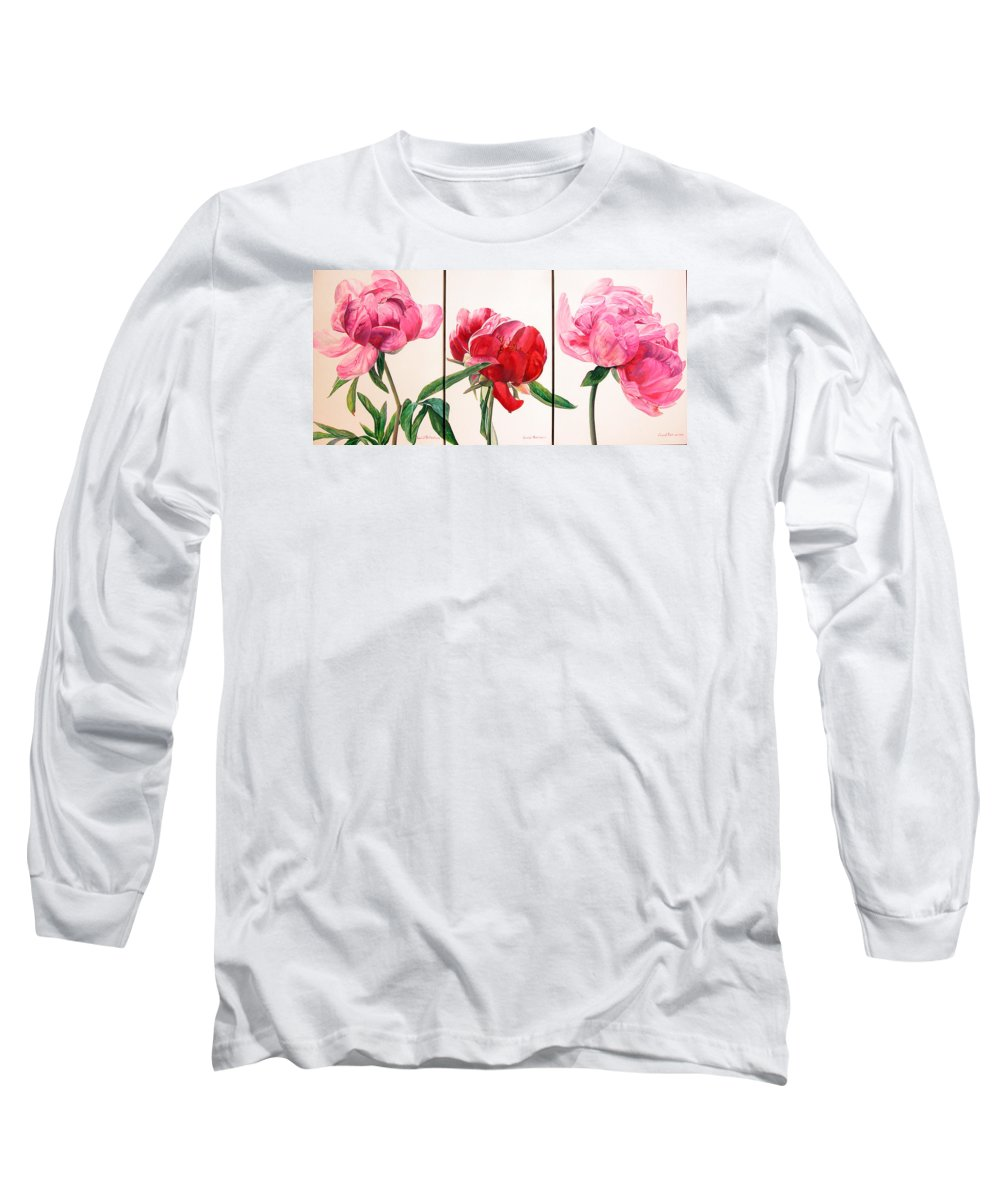 Floral Painting Long Sleeve T-Shirt featuring the painting Pivoines by Muriel Dolemieux