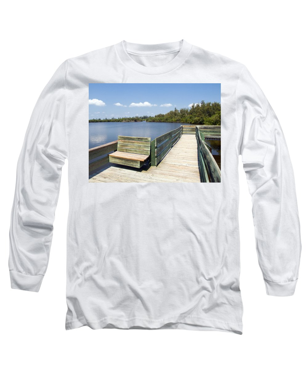 Kayak; Canoe; Florida; Round; Island; St; Saint; Lucie; County; Vero; Beach; Indian. River; Estuary; Long Sleeve T-Shirt featuring the photograph Place For Fishing Or Just Sitting At Round Island In Florida by Allan Hughes