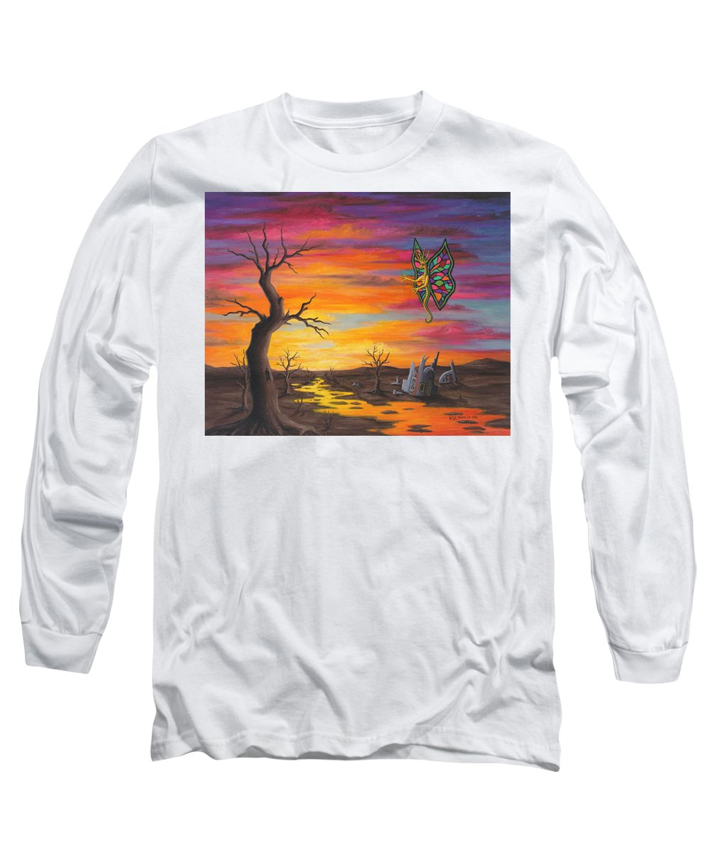 Fantasy Long Sleeve T-Shirt featuring the painting Planet Px7 by Roz Eve