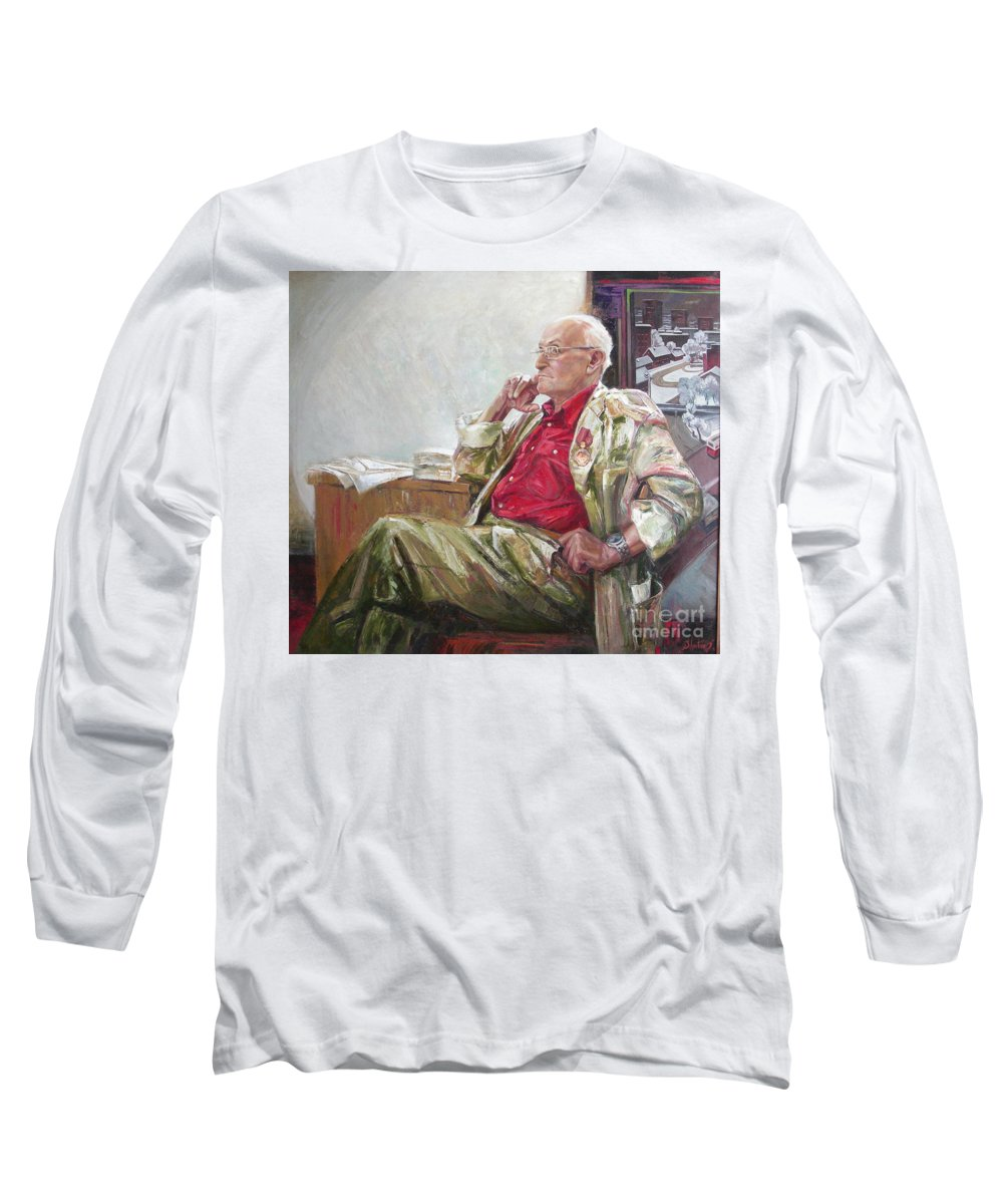 Oil Long Sleeve T-Shirt featuring the painting Portrait Of May Dancig by Sergey Ignatenko
