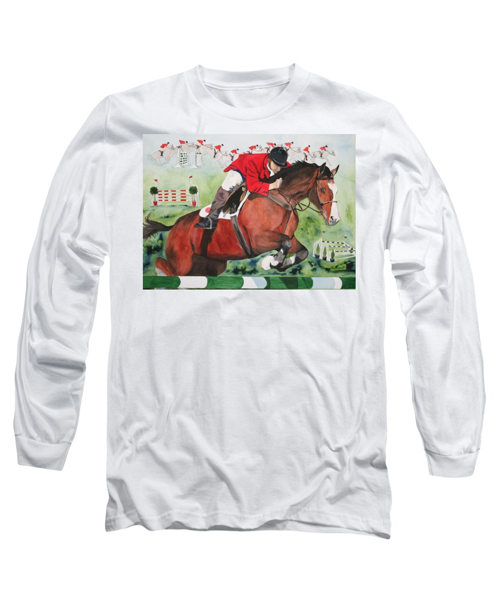 Horse Long Sleeve T-Shirt featuring the painting Practice Makes Perfect by Jean Blackmer