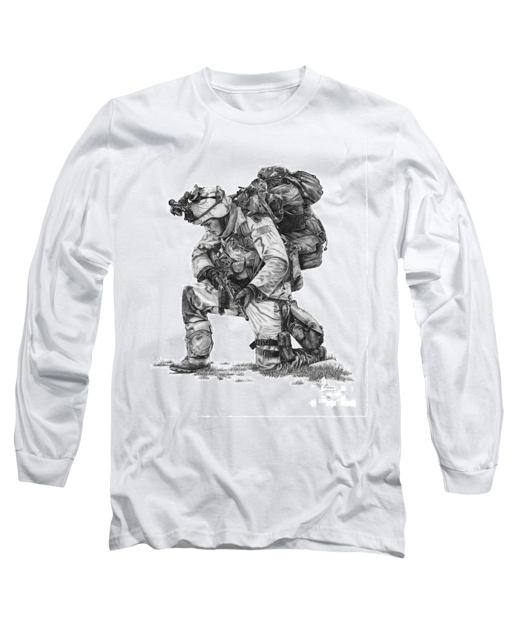 Pencil Long Sleeve T-Shirt featuring the drawing Praying Soldier by Murphy Elliott
