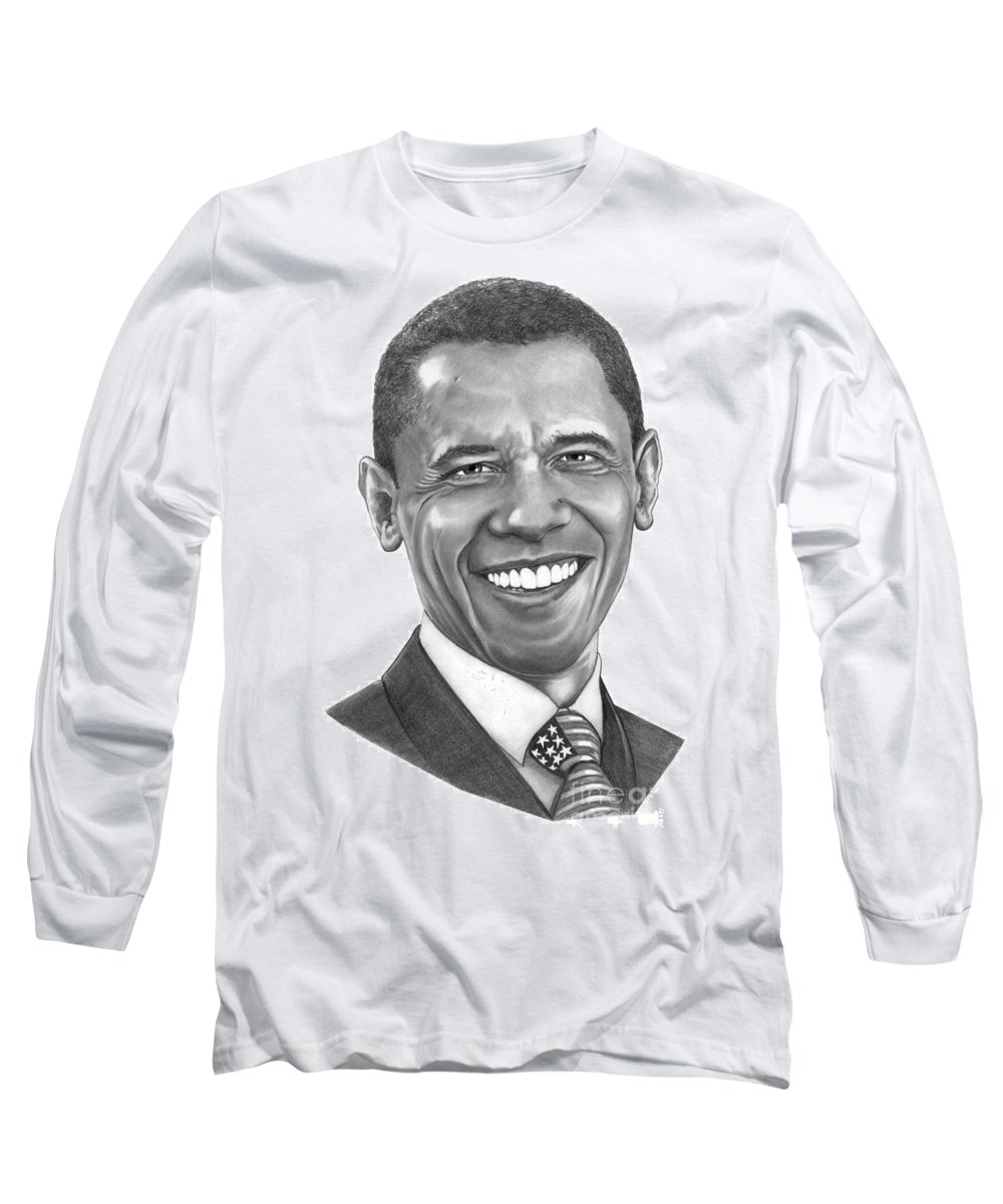 Drawing Long Sleeve T-Shirt featuring the drawing President Barack Obama By Murphy Art. Elliott by Murphy Elliott