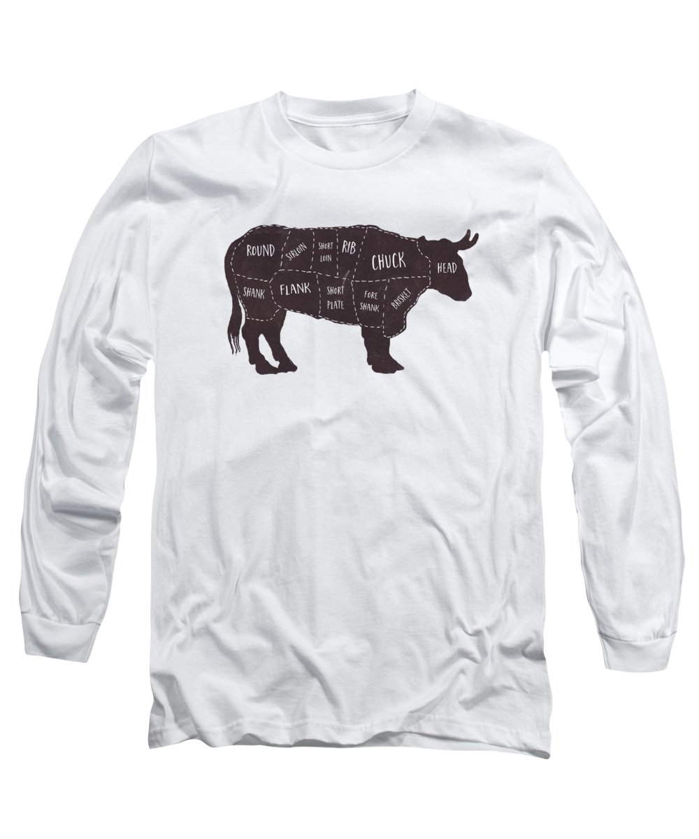 Beef Long Sleeve T-Shirt featuring the photograph Primitive Butcher Shop Beef Cuts Chart T-shirt by Edward Fielding