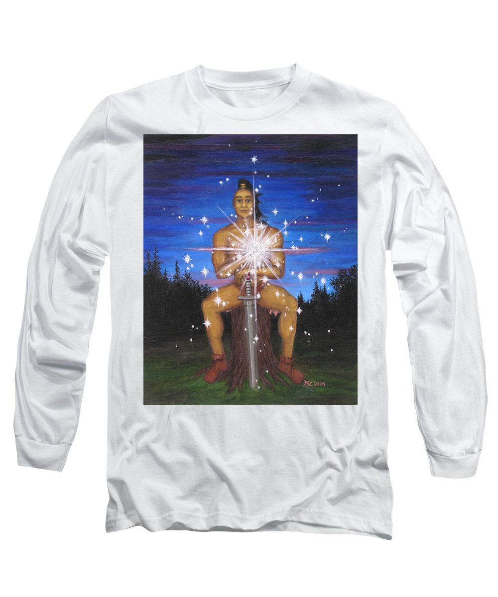 Fantasy Long Sleeve T-Shirt featuring the painting Protector Of The Mystical Forest by Roz Eve