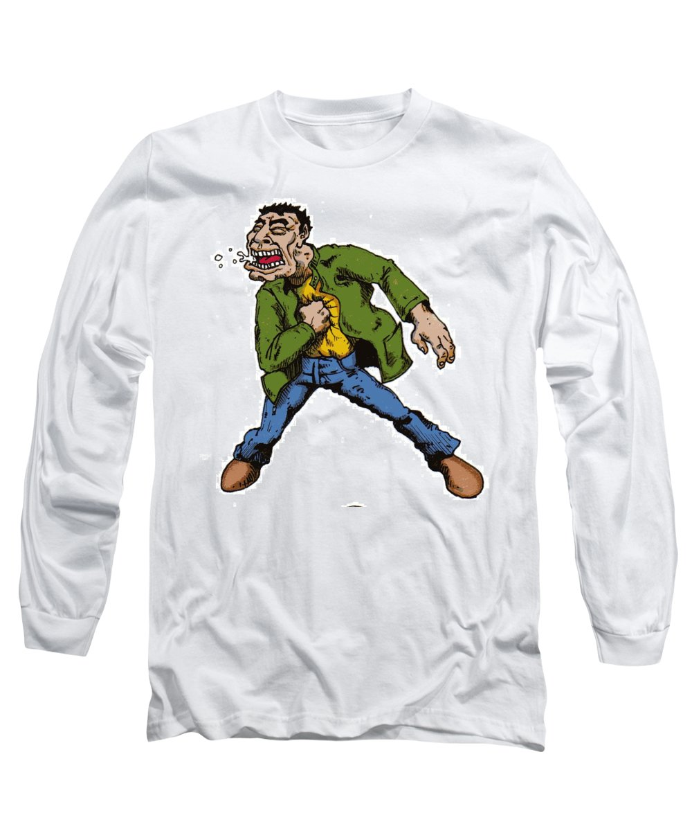 Illustration Long Sleeve T-Shirt featuring the drawing Punch by Tobey Anderson