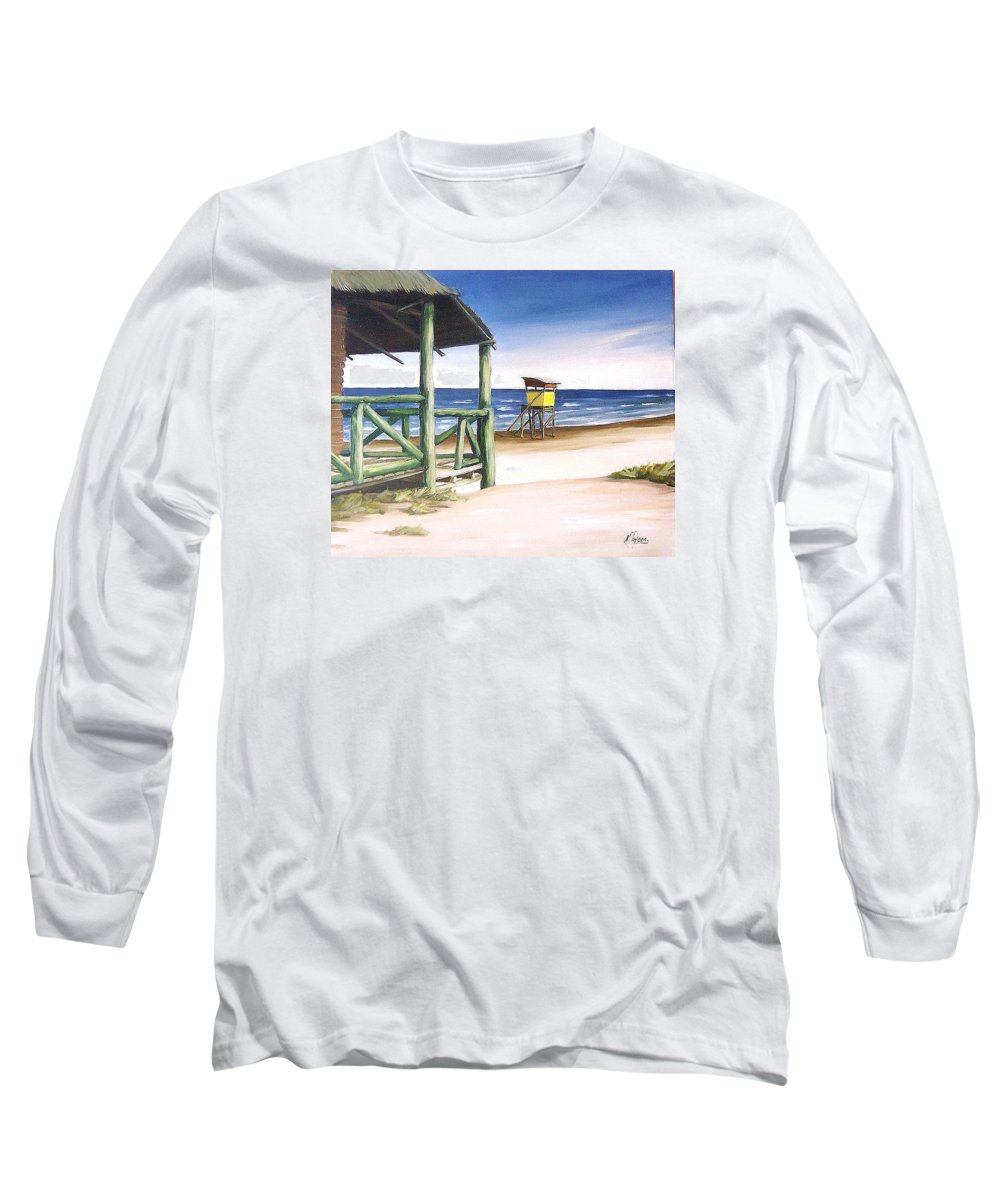Seascape Beach Landscape Water Ocean Long Sleeve T-Shirt featuring the painting Punta Del Diablo S Morning by Natalia Tejera