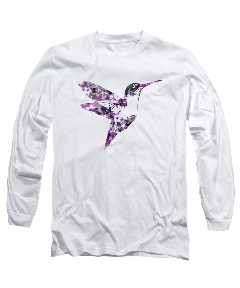 Bird Long Sleeve T-Shirt featuring the mixed media Purple Floral Hummingbird Art by Christina Rollo
