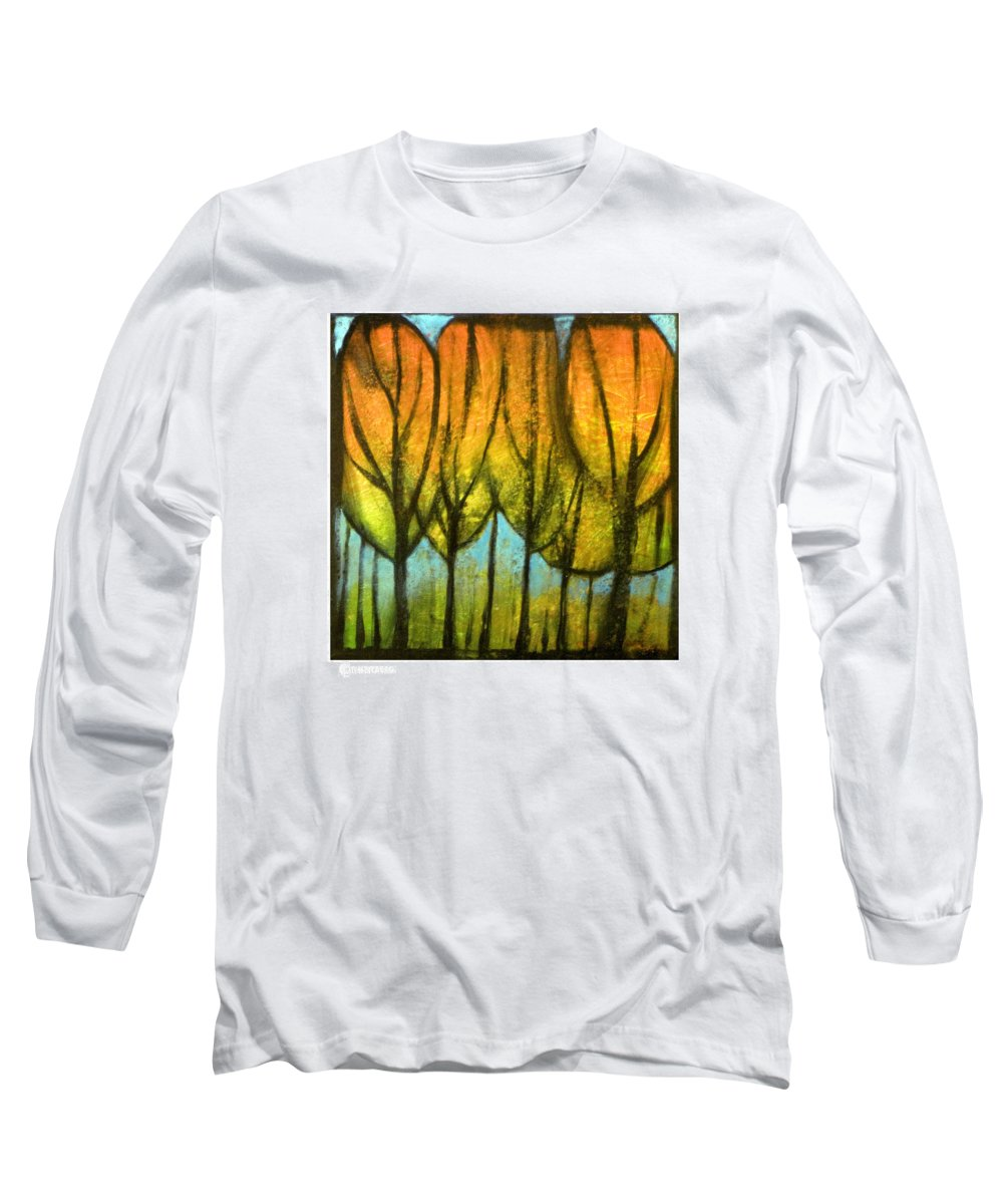 Trees Long Sleeve T-Shirt featuring the painting Quiet Blaze by Tim Nyberg
