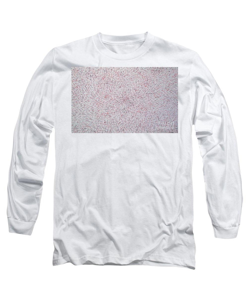 Abstract Long Sleeve T-Shirt featuring the painting Radiation With Black And Red by Dean Triolo