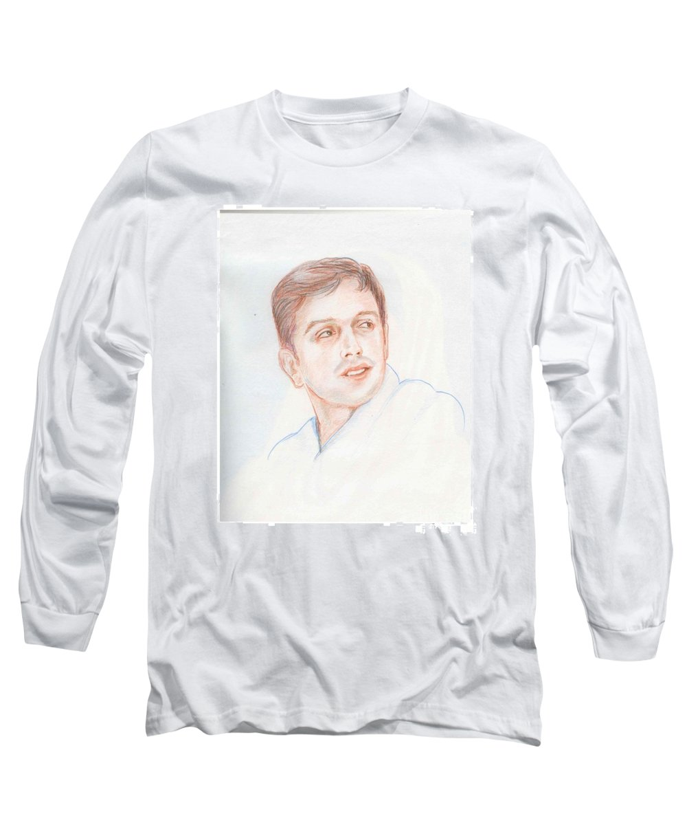 Cricketer Long Sleeve T-Shirt featuring the drawing Rahul Dravid Indian Cricketer by Asha Sudhaker Shenoy
