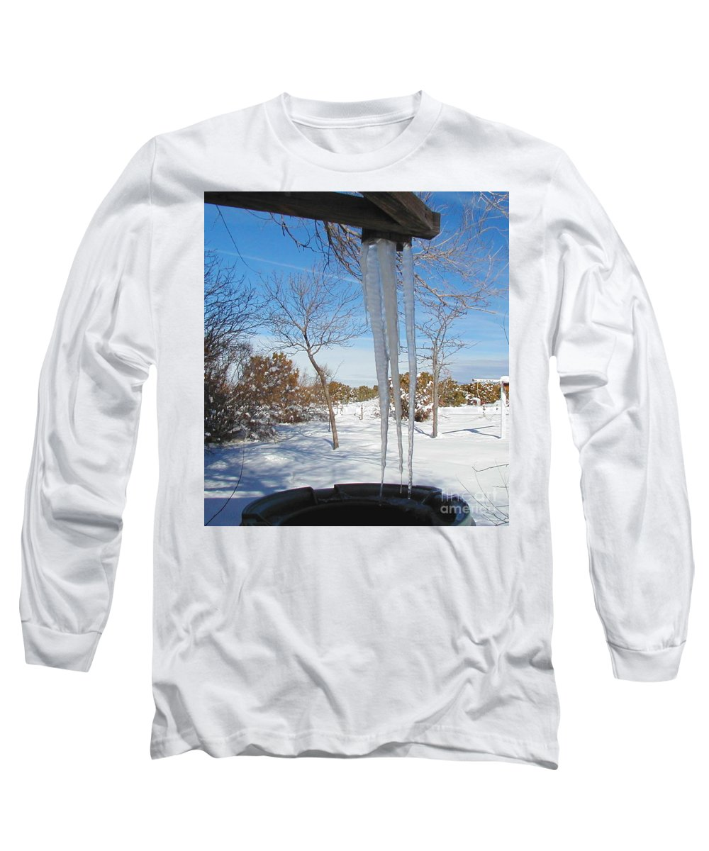 Icicle Long Sleeve T-Shirt featuring the photograph Rain Barrel Icicle by Diana Dearen
