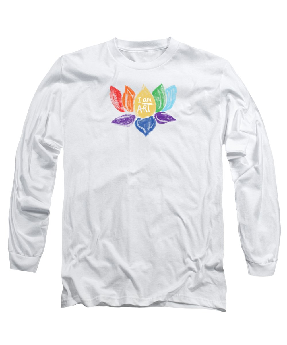 Lotus Long Sleeve T-Shirt featuring the mixed media Rainbow Lotus I Am Art- Art By Linda Woods by Linda Woods