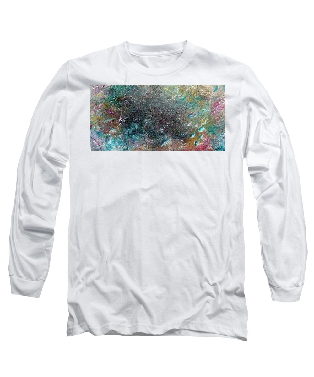 Original Abstract Painting Of Under The Sea Long Sleeve T-Shirt featuring the painting Rainbow Reef by Karin Dawn Kelshall- Best