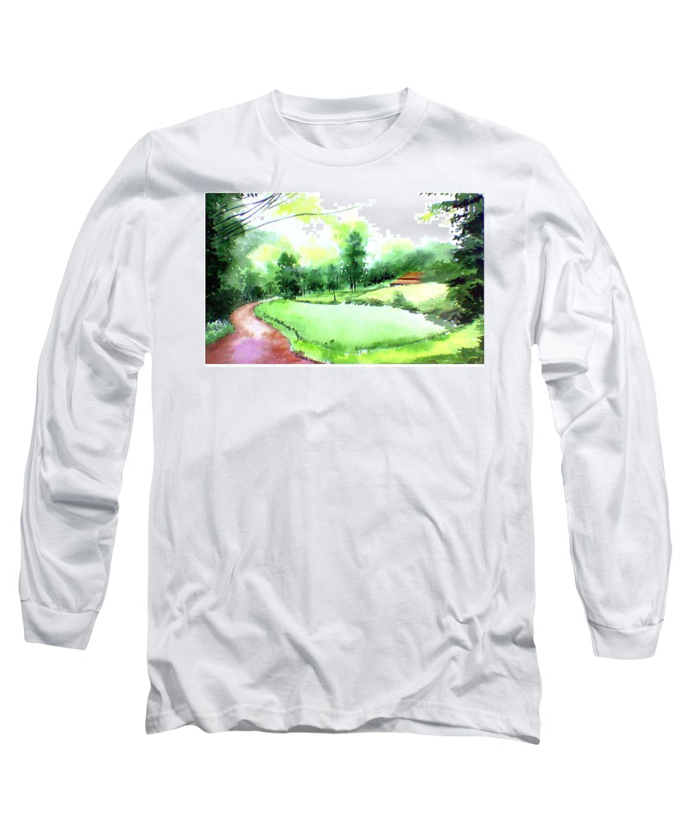 Landscape Long Sleeve T-Shirt featuring the painting Rains In West by Anil Nene