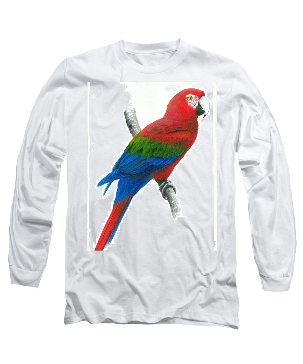 Chris Cox Long Sleeve T-Shirt featuring the painting Red And Green Macaw by Christopher Cox