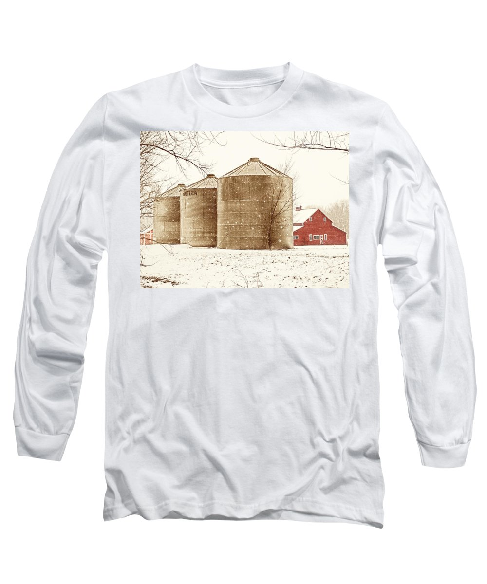 Americana Long Sleeve T-Shirt featuring the photograph Red Barn In Snow by Marilyn Hunt