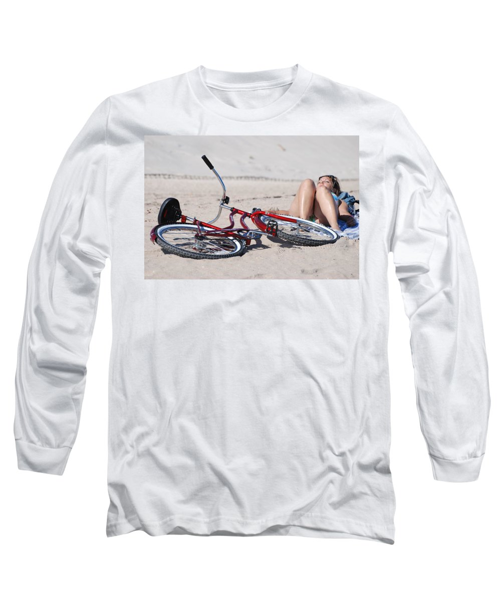 Red Long Sleeve T-Shirt featuring the photograph Red Bike On The Beach by Rob Hans