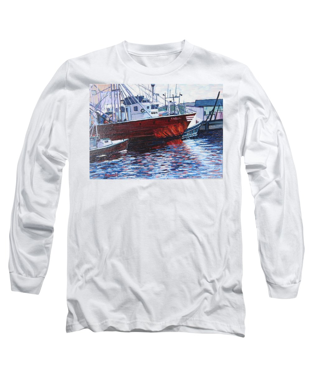 Boats Long Sleeve T-Shirt featuring the painting Red Boats by Richard Nowak