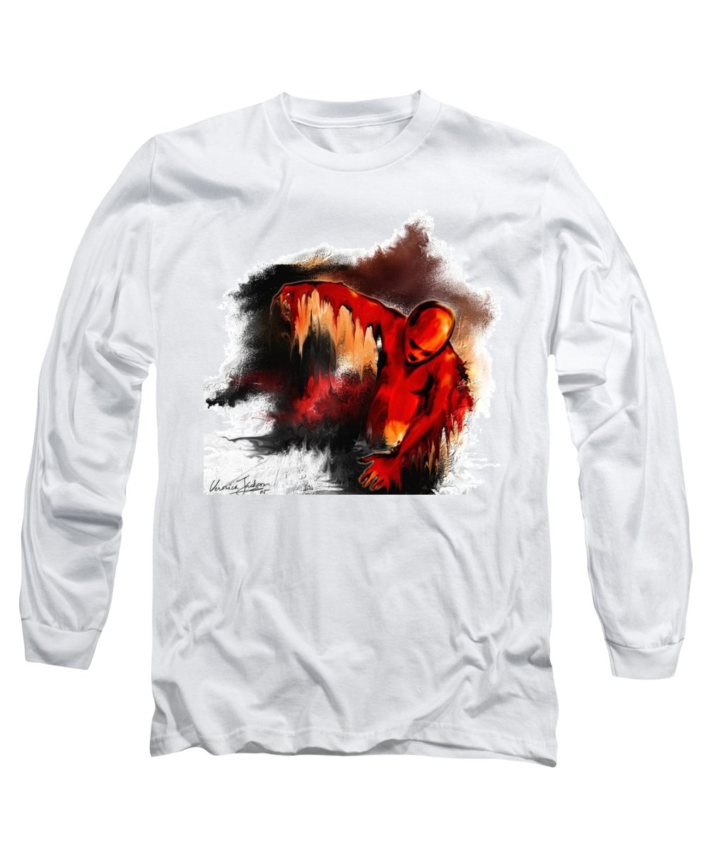 Red Man Passion Sureall Fire Long Sleeve T-Shirt featuring the digital art Red Man by Veronica Jackson