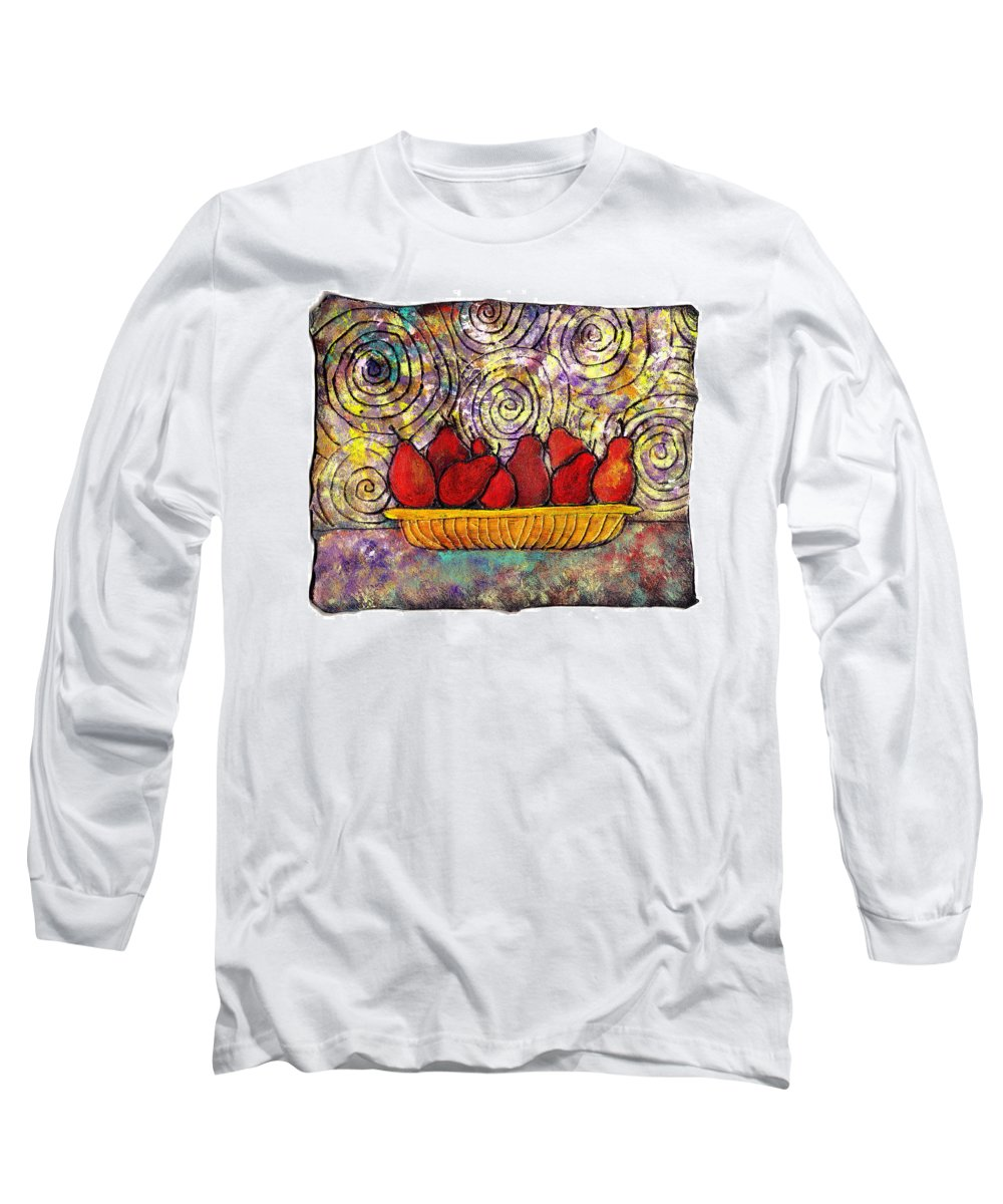 Spirals Long Sleeve T-Shirt featuring the painting Red Pears In A Bowl by Wayne Potrafka