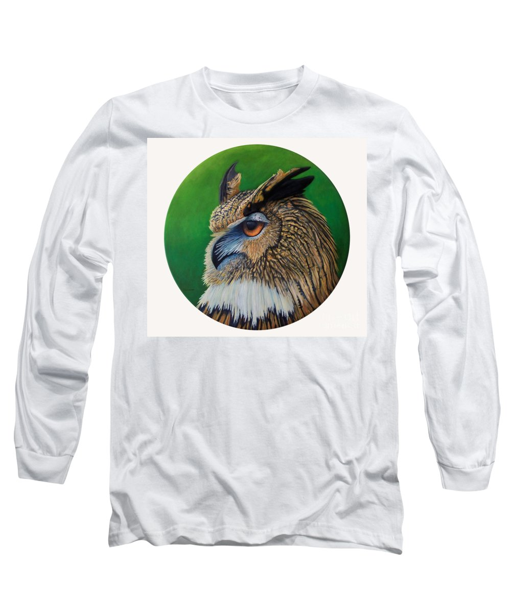 Owl Long Sleeve T-Shirt featuring the painting Regal Gaze by Brian Commerford