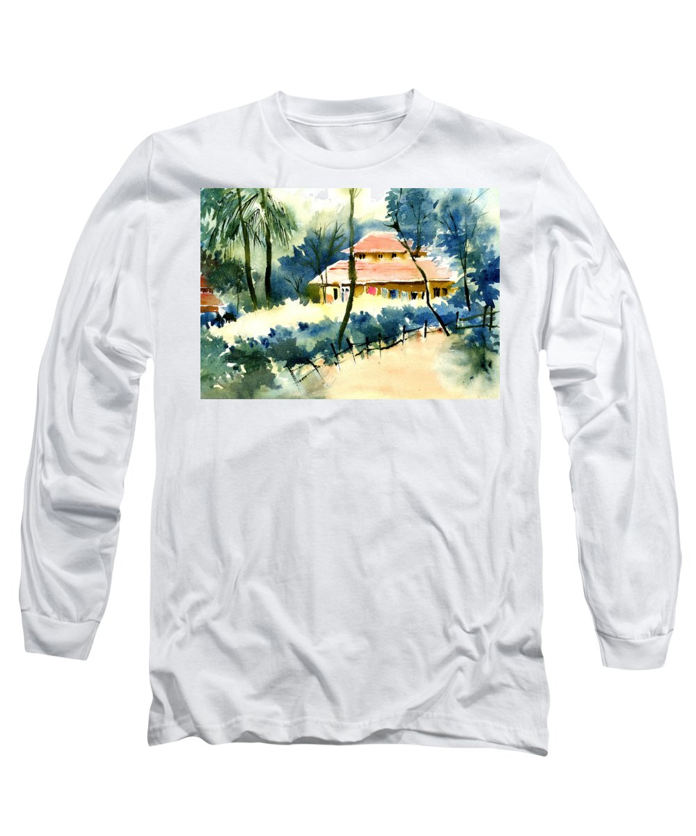 Landscape Long Sleeve T-Shirt featuring the painting Rest House by Anil Nene