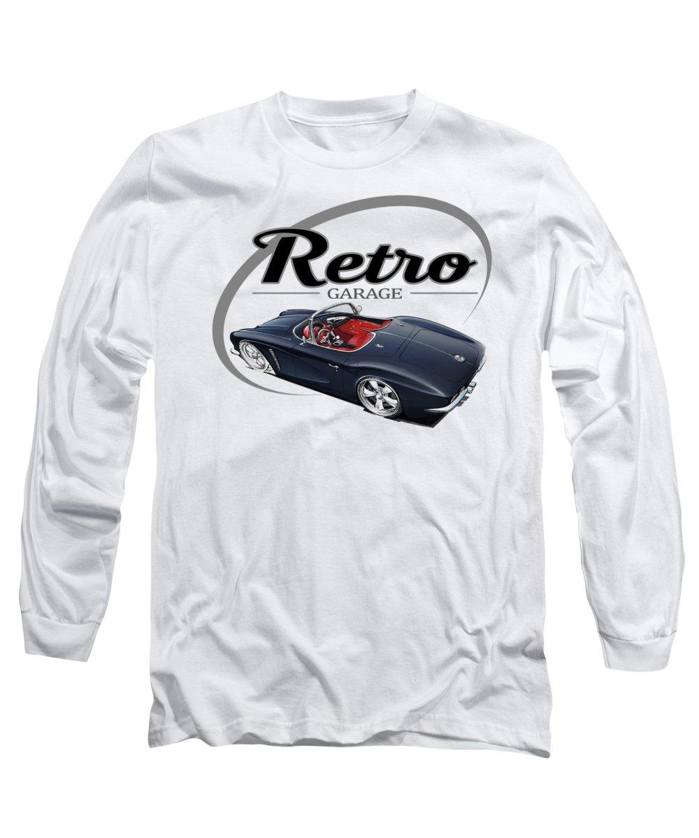 Retro Long Sleeve T-Shirt featuring the digital art Retro Garage Vette by Paul Kuras