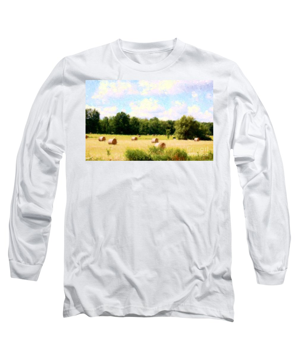 Nature Long Sleeve T-Shirt featuring the photograph Rolling The Hay by David Lane