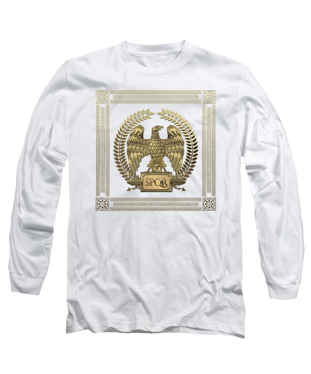 'treasures Of Rome' Collection By Serge Averbukh Long Sleeve T-Shirt featuring the digital art Roman Empire - Gold Imperial Eagle Over White Leather by Serge Averbukh