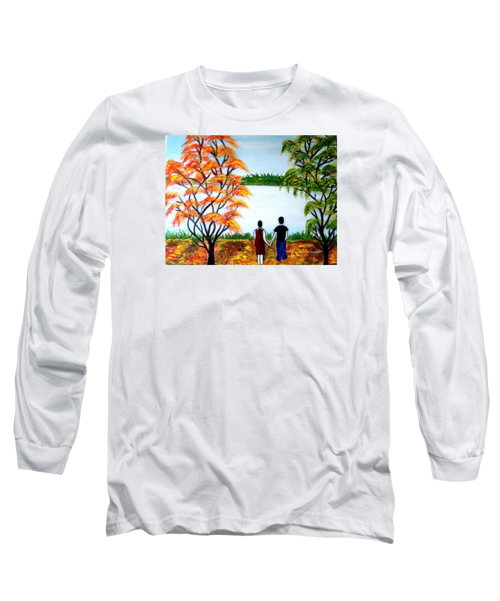 Romance Figures Autumn Orange Trees Green Pop Water Lake Love Valentine Yellow Lake Spring Bloom Long Sleeve T-Shirt featuring the painting Romance In Autumn by Manjiri Kanvinde