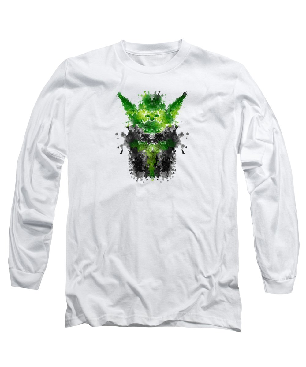 Starwars Long Sleeve T-Shirt featuring the digital art Rorschach Yoda by Philipp Rietz