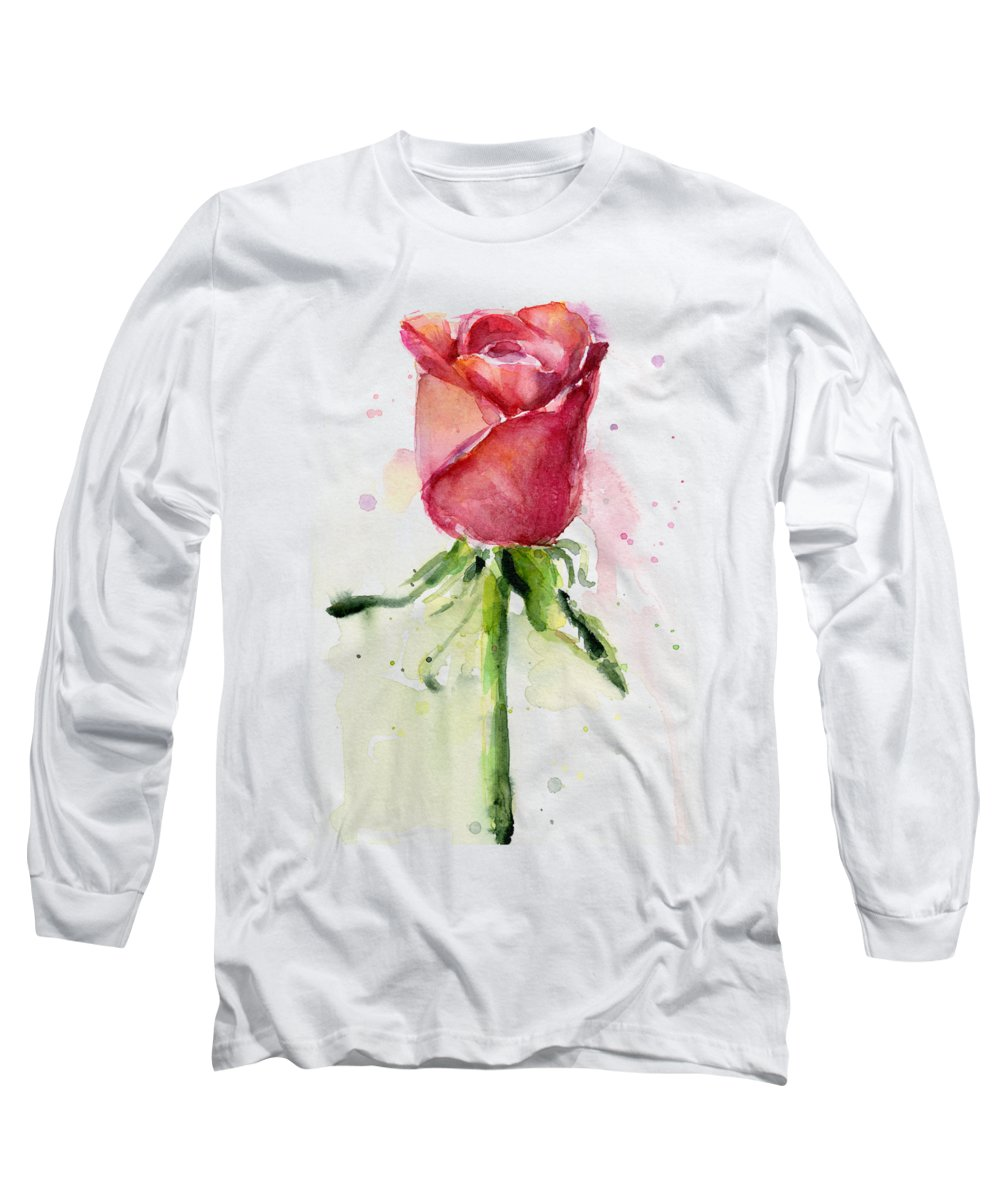 Rose Long Sleeve T-Shirt featuring the painting Rose Watercolor by Olga Shvartsur