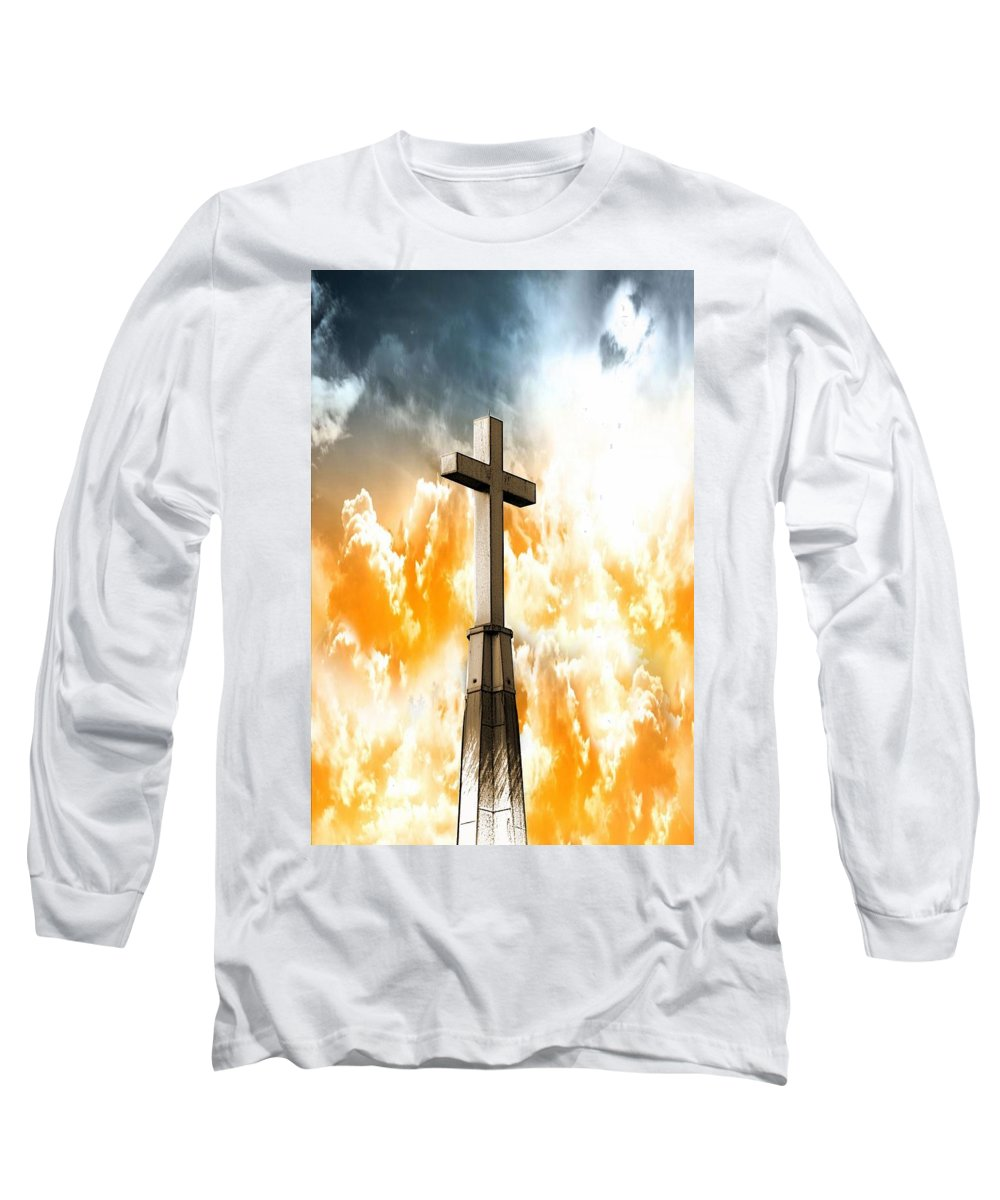 Cross Long Sleeve T-Shirt featuring the photograph Salvation by Aaron Berg