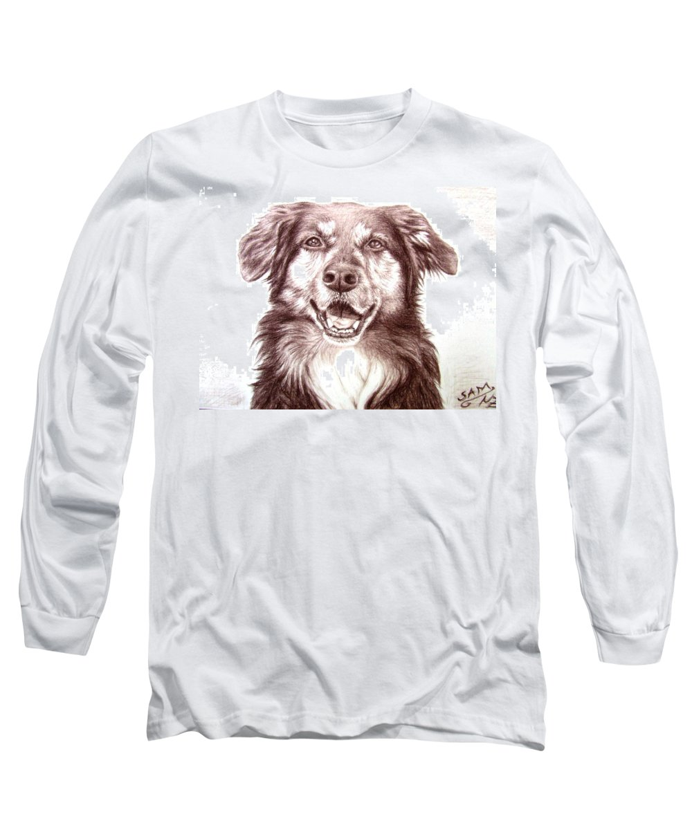 Dog Long Sleeve T-Shirt featuring the drawing Sam by Nicole Zeug