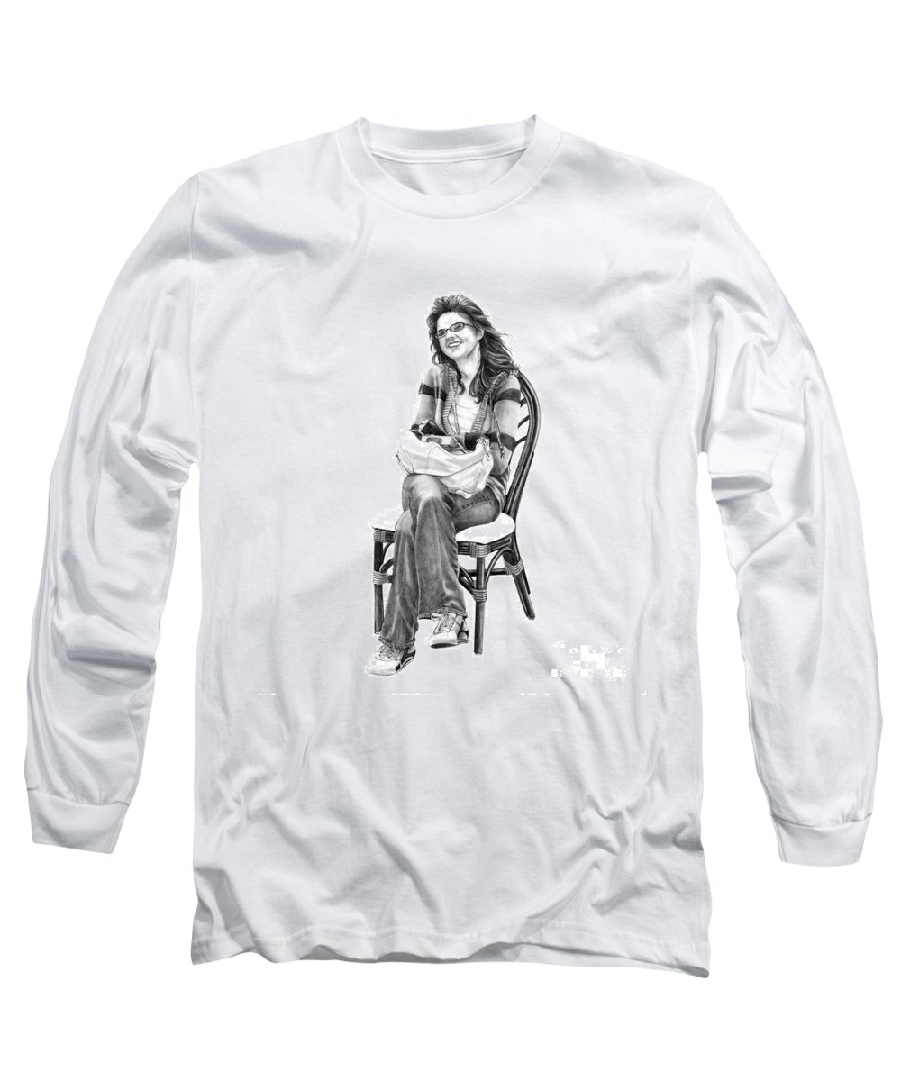 Figure Drawing Long Sleeve T-Shirt featuring the drawing Samantha Jonice Elliott by Murphy Elliott
