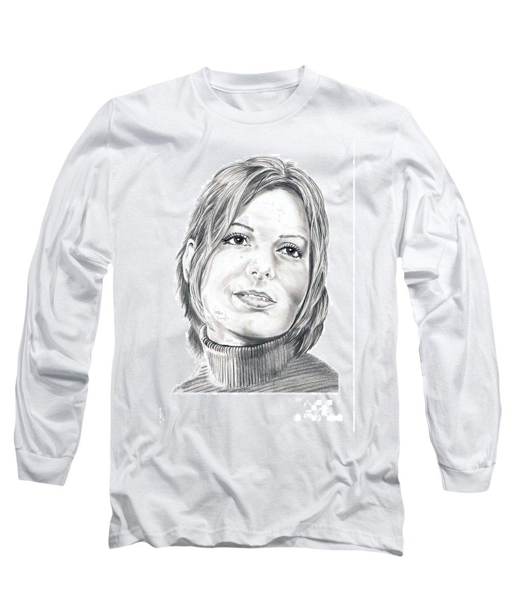 Drawing Long Sleeve T-Shirt featuring the drawing Sandra Bullock by Murphy Elliott