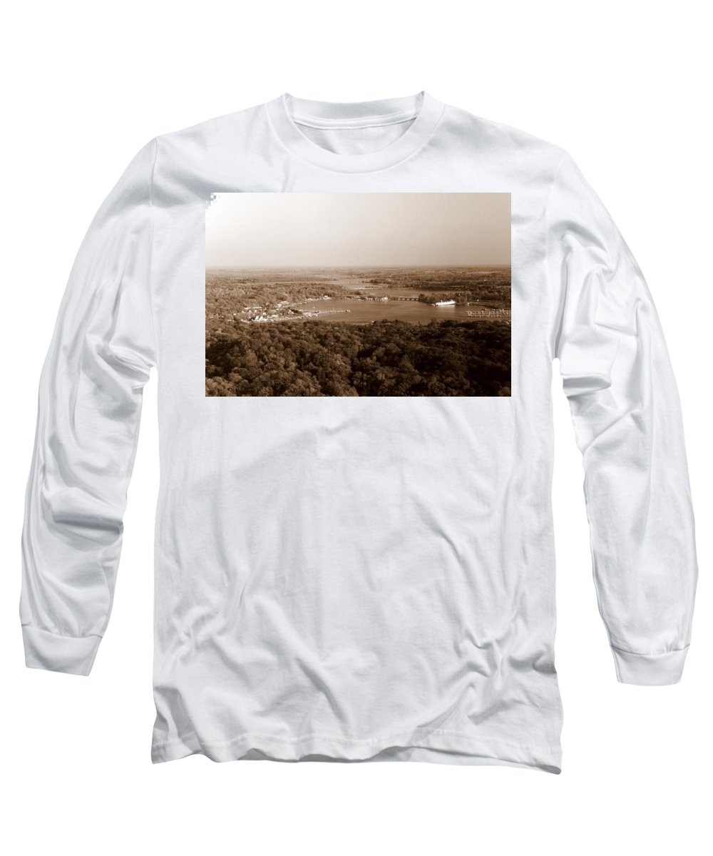 Saugatuck Long Sleeve T-Shirt featuring the photograph Saugatuck Michigan Harbor Aerial Photograph by Michelle Calkins