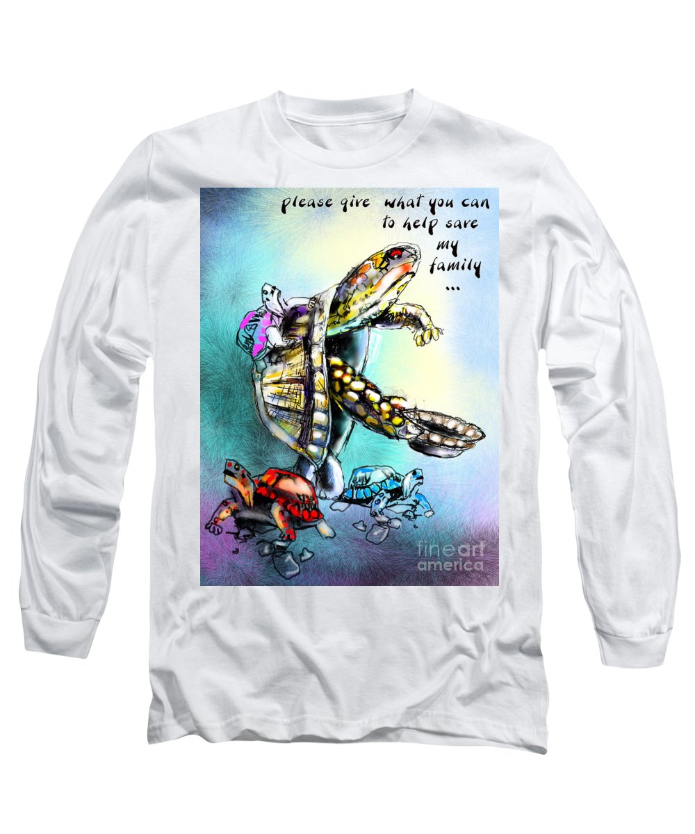 Turtle Painting Long Sleeve T-Shirt featuring the digital art Save My Family by Miki De Goodaboom