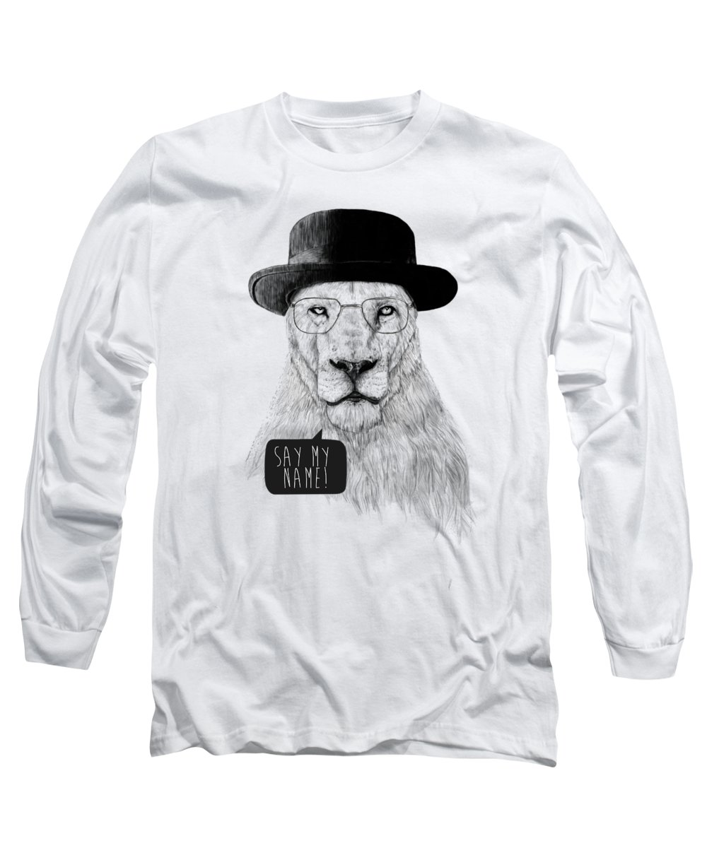 Lion Long Sleeve T-Shirt featuring the mixed media Say my name by Balazs Solti