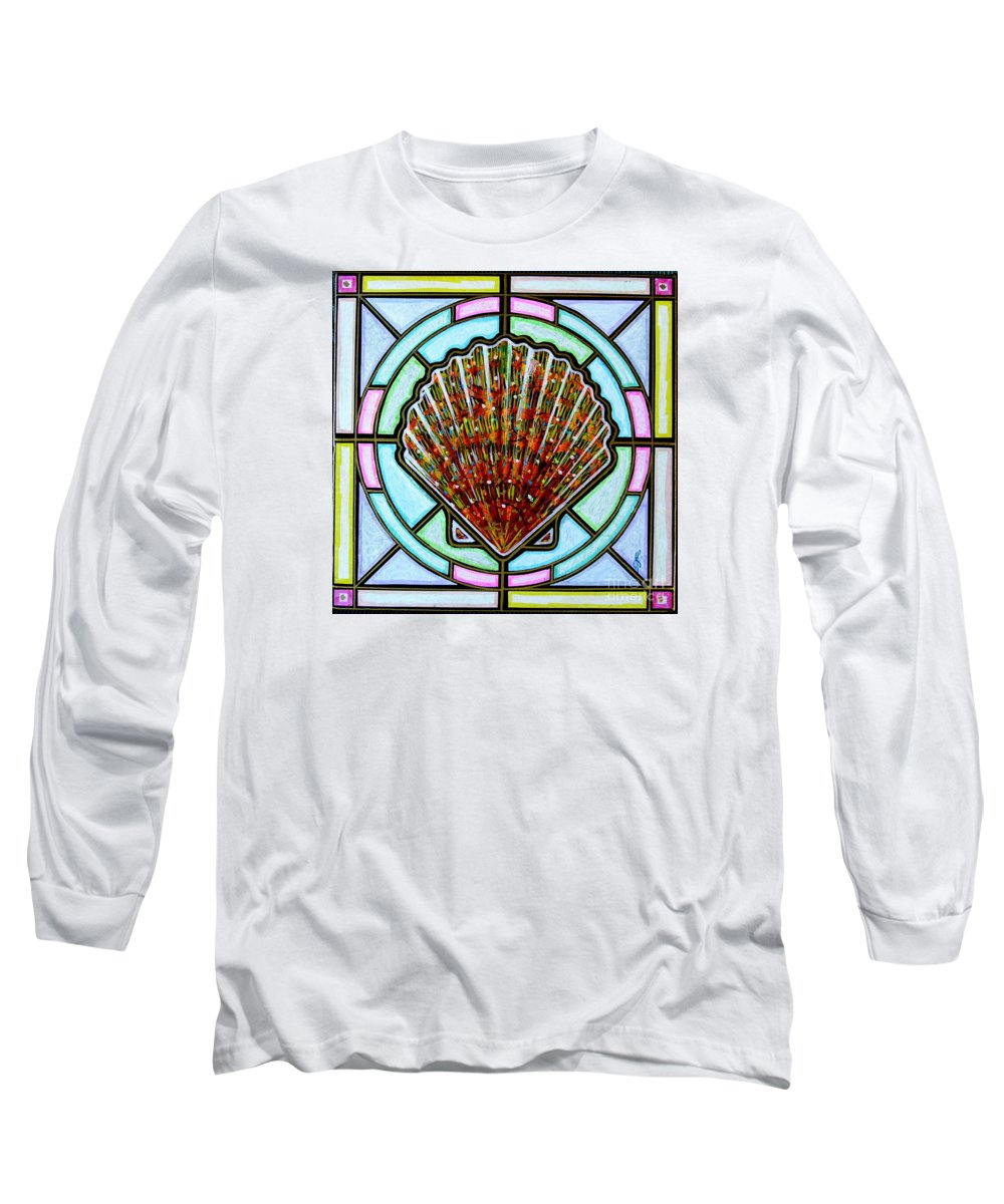 She Shells Long Sleeve T-Shirt featuring the painting Scallop Shell 1 by Jim Harris