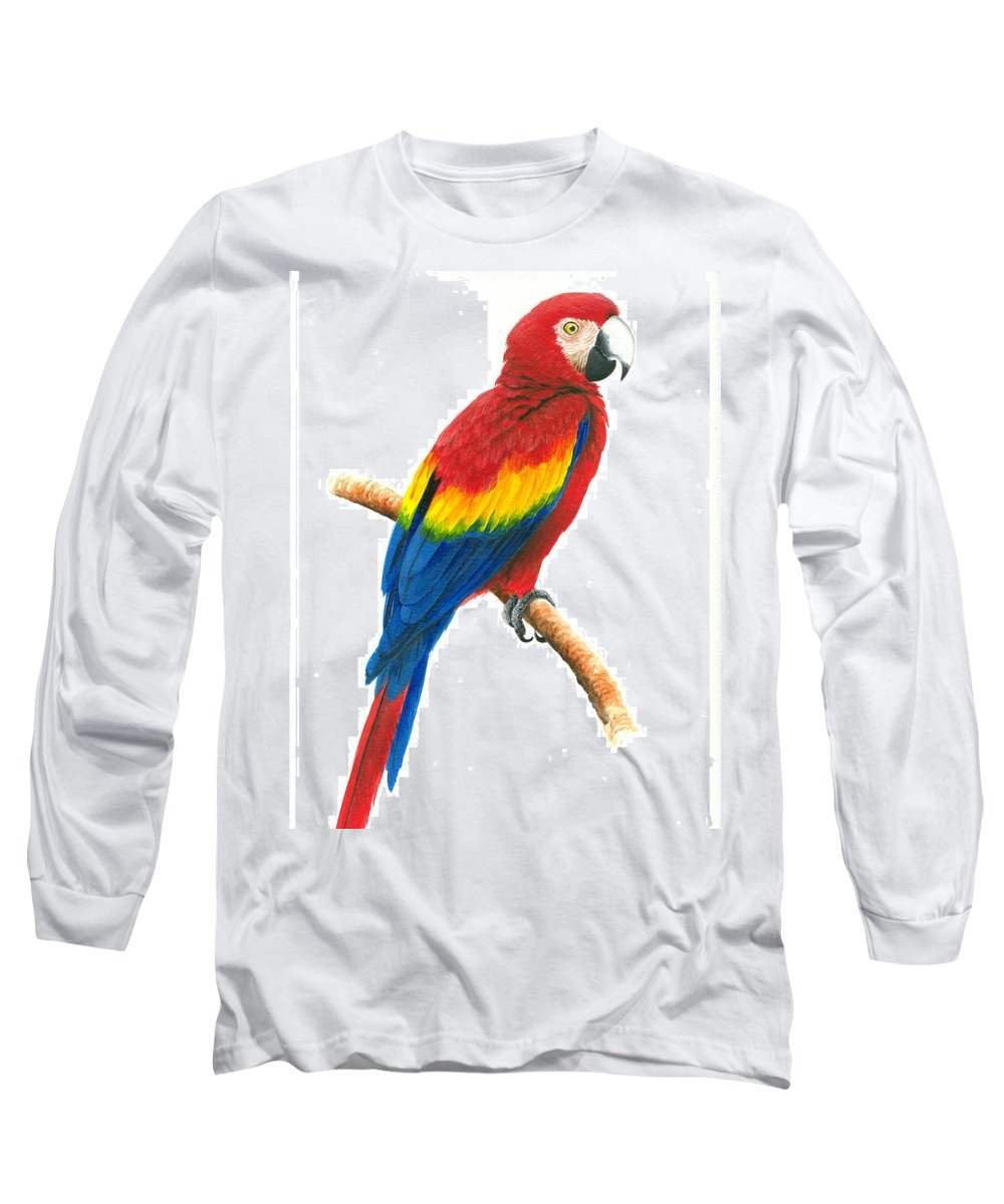 Chris Cox Long Sleeve T-Shirt featuring the painting Scarlet Macaw by Christopher Cox