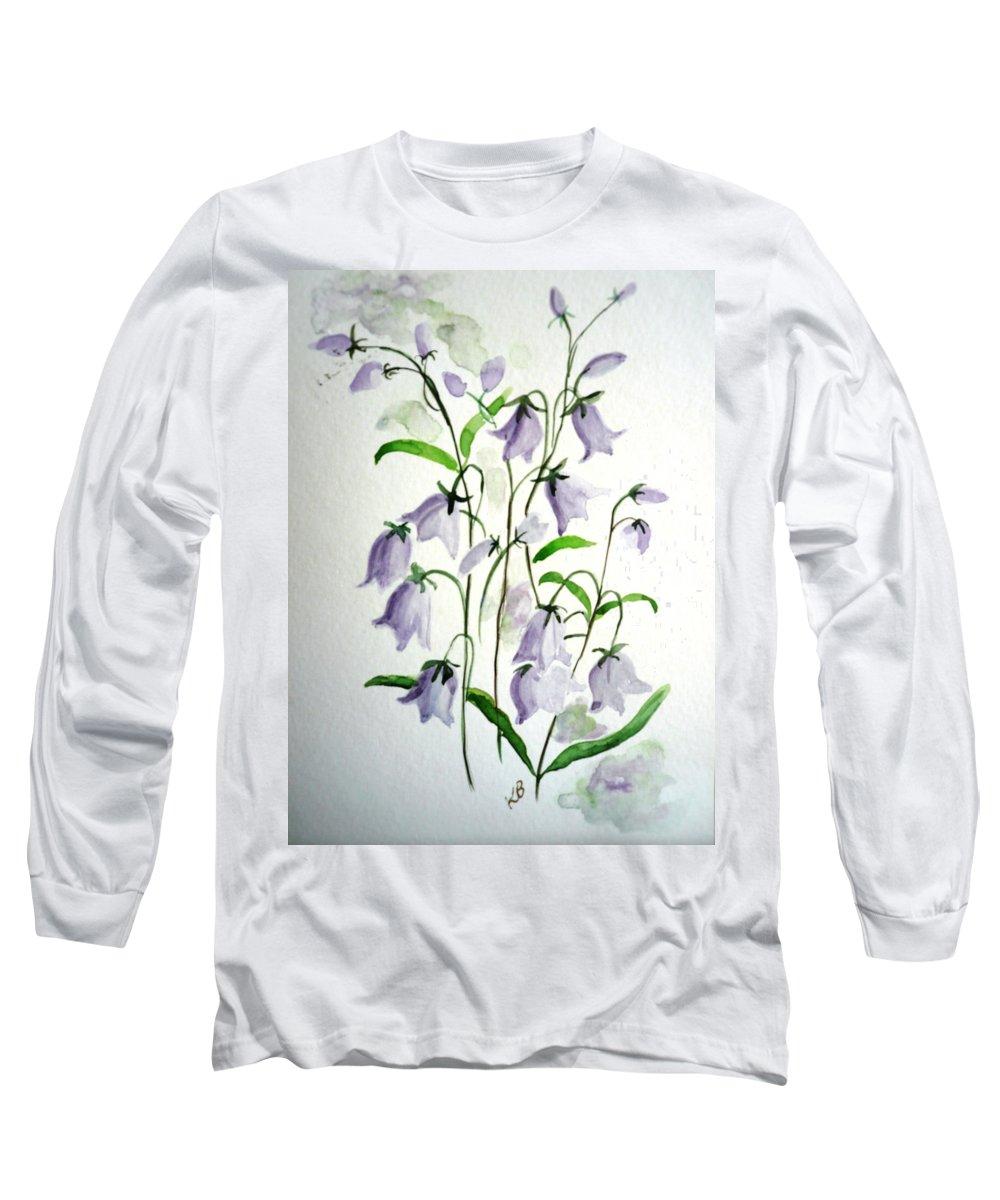 Blue Bells Hare Bells Purple Flower Flora Long Sleeve T-Shirt featuring the painting Scottish Blue Bells by Karin Dawn Kelshall- Best