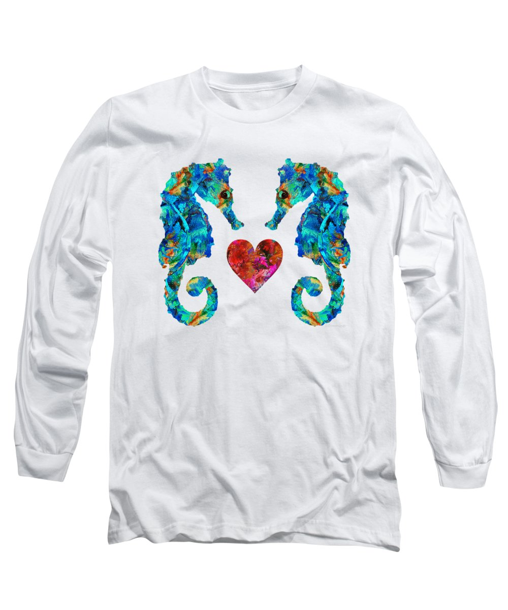 Seahorse Long Sleeve T-Shirt featuring the painting Sea Lovers - Seahorse Beach Art By Sharon Cummings by Sharon Cummings