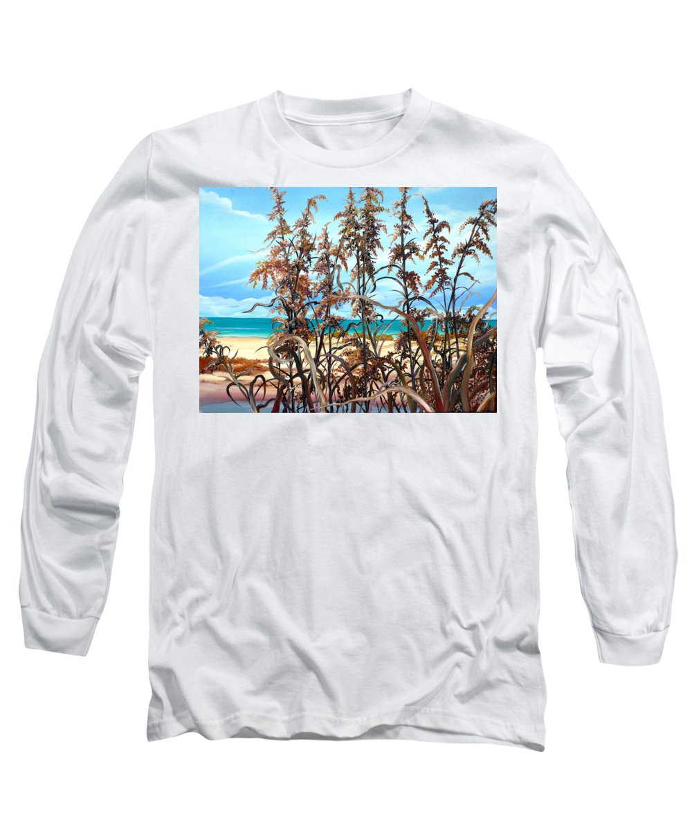 Ocean Painting Sea Oats Painting Beach Painting Seascape Painting Beach Painting Florida Painting Greeting Card Painting Long Sleeve T-Shirt featuring the painting Sea Oats by Karin Dawn Kelshall- Best