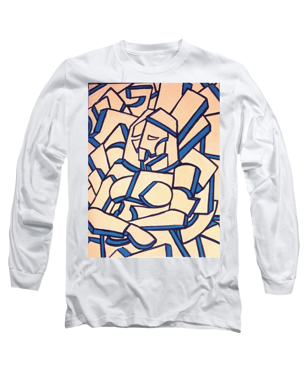 Girl Long Sleeve T-Shirt featuring the painting Seated Women by Thomas Valentine