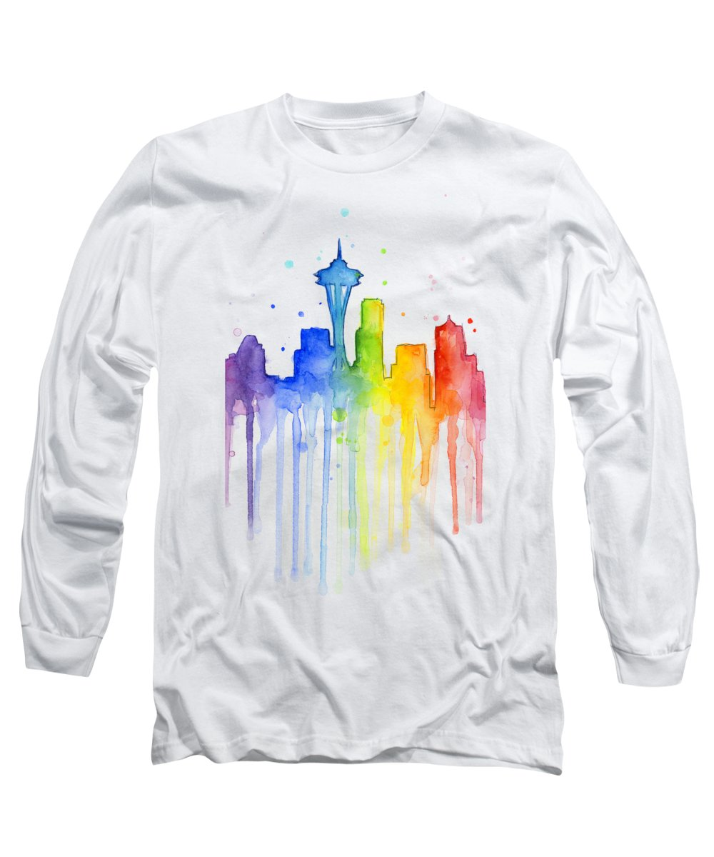 Watercolor Long Sleeve T-Shirt featuring the painting Seattle Rainbow Watercolor by Olga Shvartsur