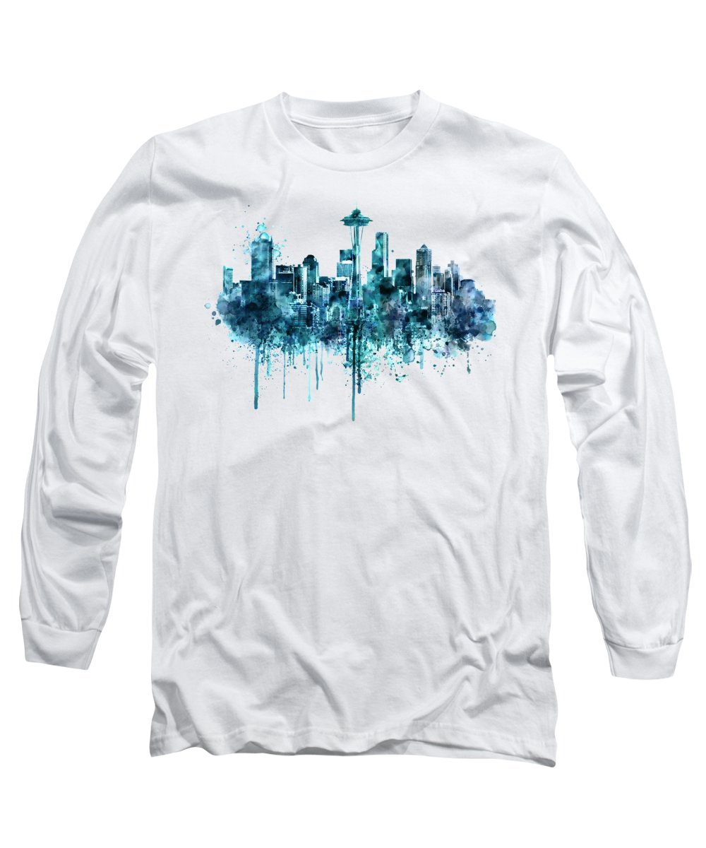 Seattle Long Sleeve T-Shirt featuring the painting Seattle Skyline Monochrome Watercolor by Marian Voicu