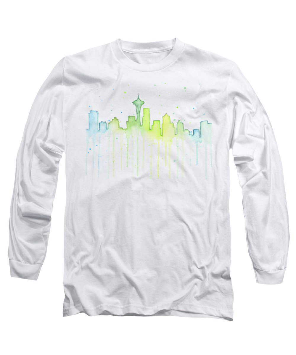 Seattle Long Sleeve T-Shirt featuring the painting Seattle Skyline Watercolor by Olga Shvartsur