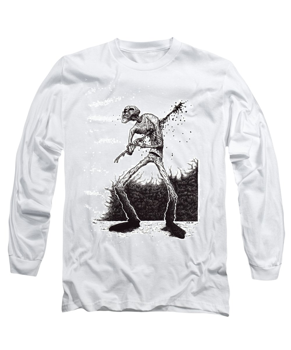 Dark Long Sleeve T-Shirt featuring the drawing Self Inflicted by Tobey Anderson